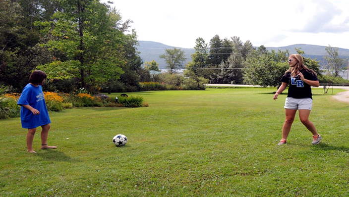 Play soccer on the lawn