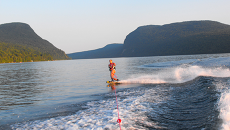 Waterskiing from Green Acres Cabins beach