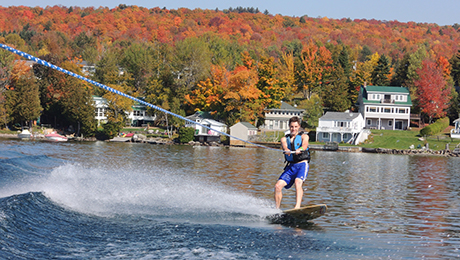 Waterskiing on the Lake in the fall